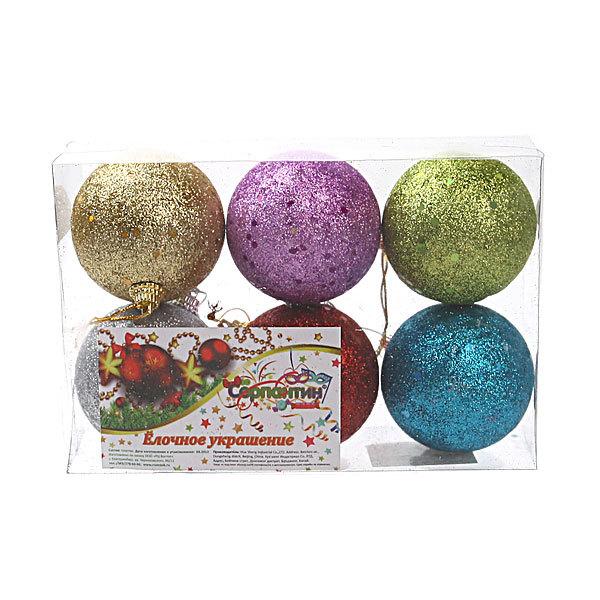 Новогодние шары (6шт) d-6см 31982 купить оптом и в розницу