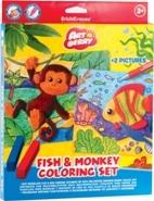 Набор д/дет.творч. Artberry Fish & Monkey Coloring Set, пластилин мяг.6цв+воск.мелки 8цв+2раскраски купить оптом и в розницу