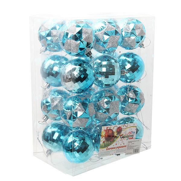 Новогодние шары ″ Ледяные кристаллы″ 6см (набор 24 шт.) купить оптом и в розницу