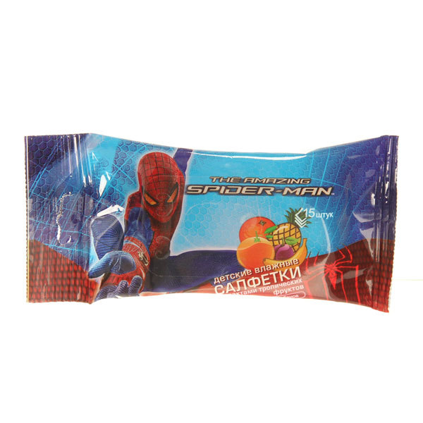 Салфетки влажные детские 15шт SPIDER-MAN Тропик (06457) купить оптом и в розницу