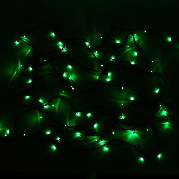 Гирлянда светодиодная уличная 25 м, 400 ламп LED, Зеленый, 8 реж, черн.пров. купить оптом и в розницу