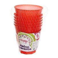 Набор стаканов пластиковых 6шт 200мл ″Цветные″ Селфи, красные купить оптом и в розницу