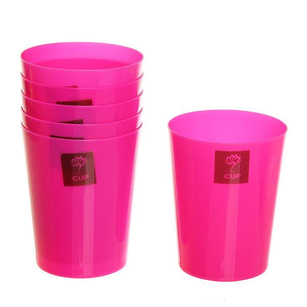 Набор стаканов пластиковых 6шт 200мл ″Цветные″ Селфи, розовые купить оптом и в розницу