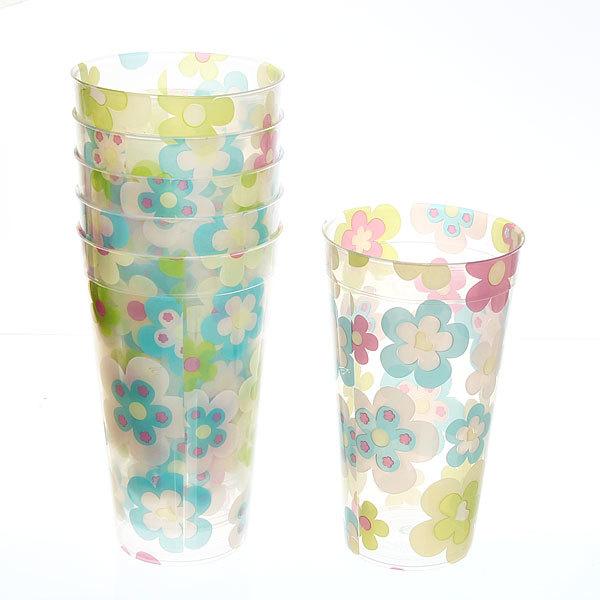 Набор стаканов пластиковых 6шт 400мл ″Цветы-фрукты″ Селфи купить оптом и в розницу