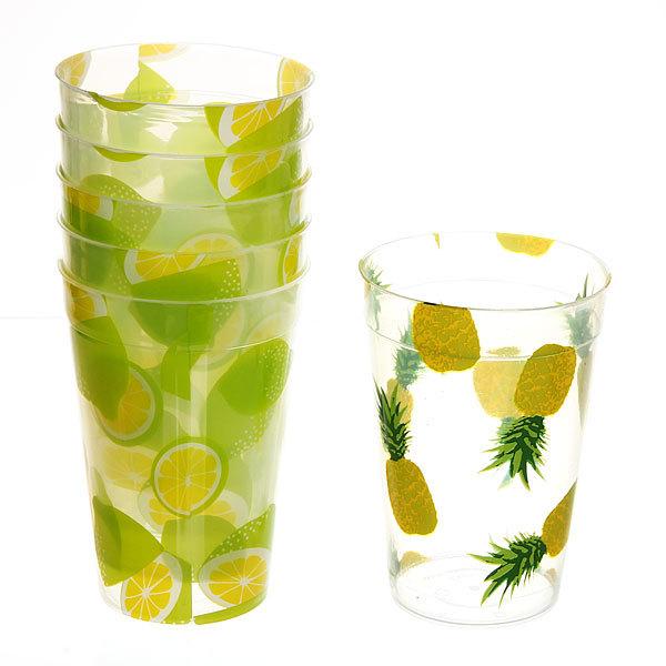 Набор стаканов пластиковых 6шт 250мл ″Цветы-фрукты″ Селфи (2) купить оптом и в розницу