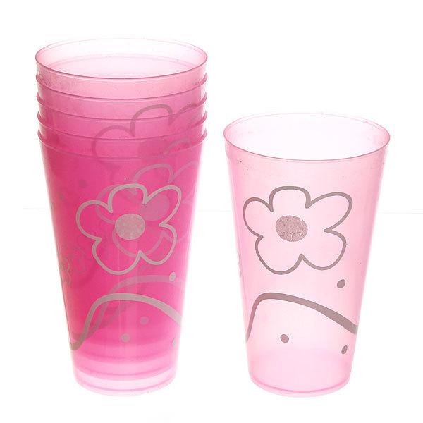Набор стаканов пластиковых 6шт 300мл ″Цветы″ Селфи купить оптом и в розницу