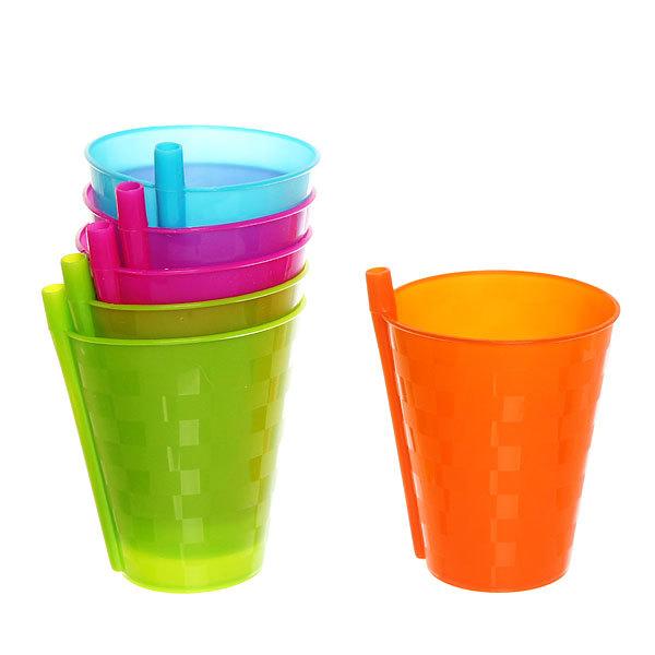 Набор стаканов пластиковых 6шт 250мл с трубочкой Селфи купить оптом и в розницу