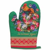 Прихватка-варежка ″Золотые руки!″, Жостовский петушок купить оптом и в розницу