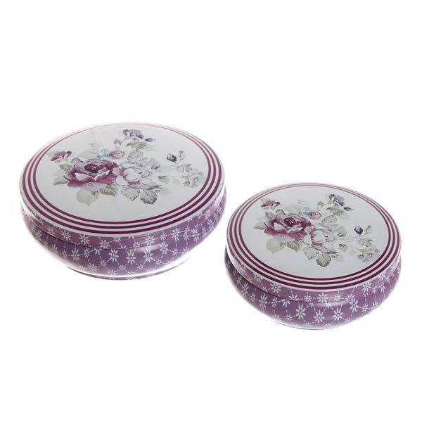 Набор банок для конфет металлических 2шт ″Сиреневые цветы″(13,5*4,5см,10,5*4см) купить оптом и в розницу