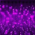 Занавес светодиодный уличный ш 2 * в 1,5м, 276 лампы LED, ″Дождь″, Фиолетовый, 8 реж, черн.пров купить оптом и в розницу