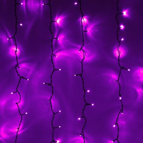 Занавес светодиодный ш 2 * в 1,5м, 276 лампы LED, ″Дождь″, Фиолетовый, 8 реж, черн.пров купить оптом и в розницу