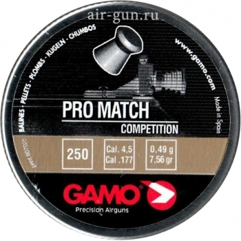 Пуля пневматическая Gamo Pro-Match, 4,5 мм, 0,49 гр (250 шт) купить оптом и в розницу