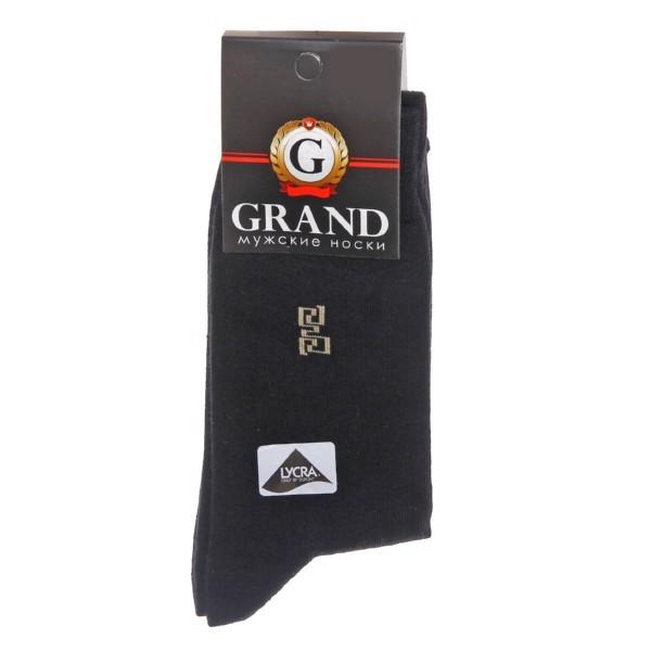 Носки мужские GRAND, рисунк на паголенке, цвет черный р. 25 купить оптом и в розницу