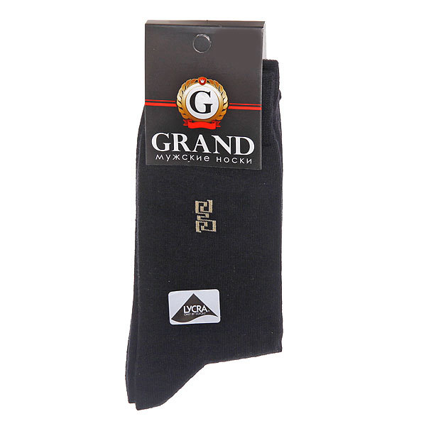 Носки мужские GRAND цвет черный с рисунком на паголенке р. 29 (М-101) купить оптом и в розницу