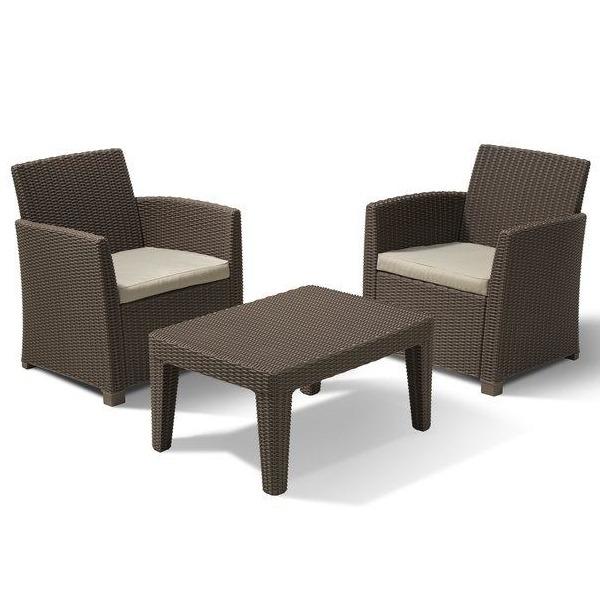 Комплект садовой мебели  Corona balcony  (ротанг) (2 стула, стол) песоч. с подушками Curver купить оптом и в розницу