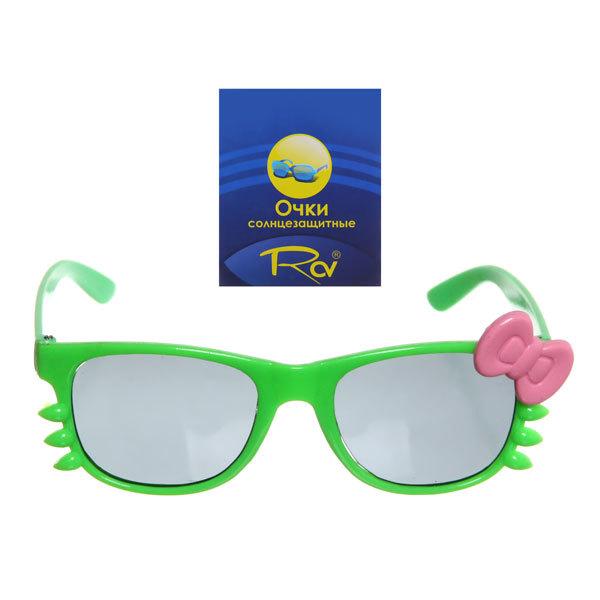 Очки солнцезащитные детские, форма овальная ″Котик″, однотонные, микс 6 цветов купить оптом и в розницу