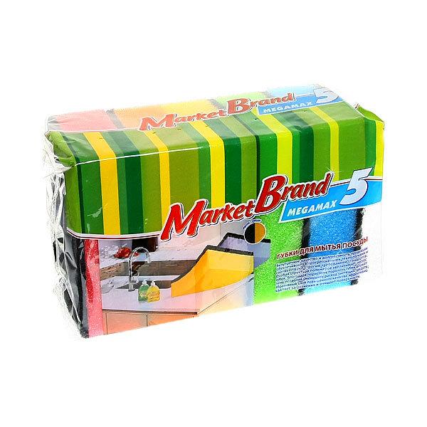 Губка для посуды 5 шт MEGAMAX МАРКЕТ БРЕНД купить оптом и в розницу