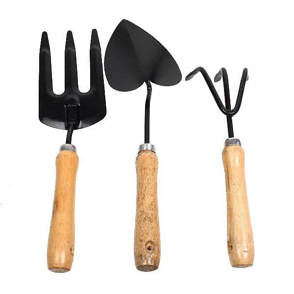 Набор садовый набор (3пред: вилка посадочная, бороздовичек, рыхлитель) 30см дерев.ручка CR1003 (D/G/H) купить оптом и в розницу