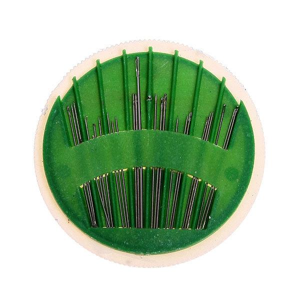Игла швейная 24шт (набор размеров) коробка пластик d 6,5см 902 купить оптом и в розницу