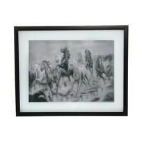 Картина объемная 40*50см черно-белая ″Табун лошадей″ 6050 купить оптом и в розницу