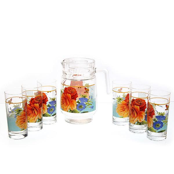 Набор питьевой 7 предметов: Кувшин 1,5л, 6 стаканов 280мл ″Цветы″ 75-80966 купить оптом и в розницу