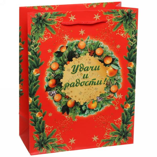 Пакет 18х23 см матовый ″Удачи и радости!″, Мандариновые дни, вертикальный купить оптом и в розницу
