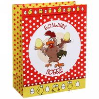Пакет 18х23 см глянцевый ″Больших побед!″, Отважные курицы, вертикальный купить оптом и в розницу