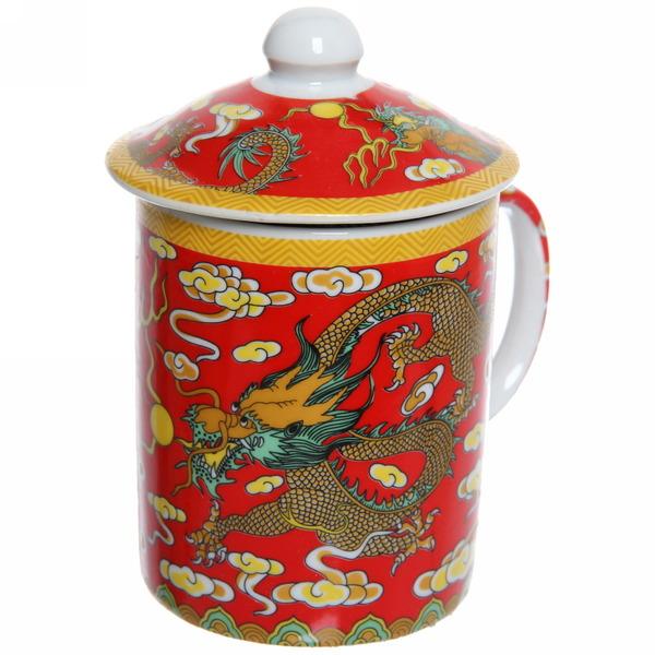 Кружка керамическая с ситом 200мл Золотой дракон″ купить оптом и в розницу