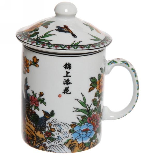 Кружка керамическая с ситом 200мл ″Цветы″ купить оптом и в розницу
