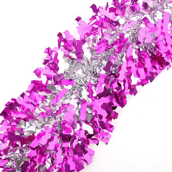 Мишура новогодняя 2 метра 10см ″Серебряный блеск″ розовый купить оптом и в розницу