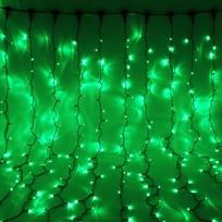Занавес светодиодный уличный ш 2 * в 1,5м, 276 лампы LED, ″Дождь″, Зеленый, 8 реж, черн.пров купить оптом и в розницу