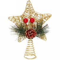 Звезда на ёлку 13см ″Плетение с шишкой″ Красный/Золото купить оптом и в розницу