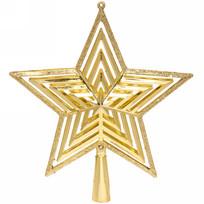 Звезда на ёлку 20см ″Полоса объемная″ золото купить оптом и в розницу
