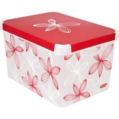 Коробка декоративная STOCKHOLM M red & white lily/10 шт Curver (39,5х29,5х25)см купить оптом и в розницу
