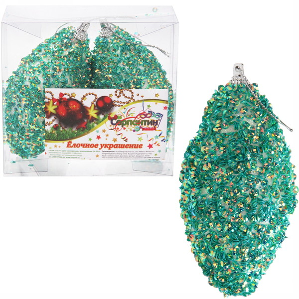 Новогодние шары ″Изумрудная шишечка″ 8см (набор 2шт.) купить оптом и в розницу