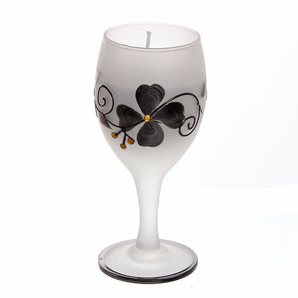 Свеча гелевая ″Сердечная″ 13 см бело-черная 9235 B купить оптом и в розницу