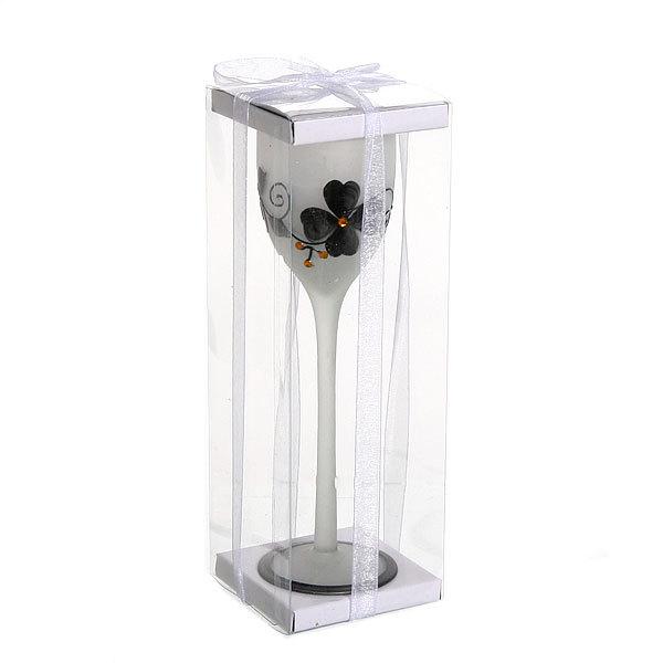 Свеча гелевая в матовом бокале, бело-черная 20 см купить оптом и в розницу