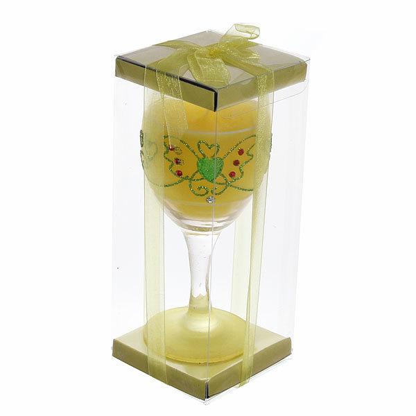 Свеча гелевая в прозрачном бокале, желтая, 14 см купить оптом и в розницу