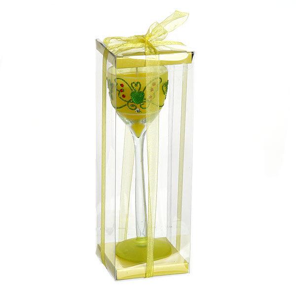 Свеча гелевая в прозрачном бокале, желтая 20 см купить оптом и в розницу