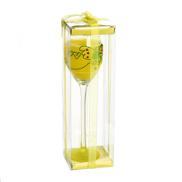 Свеча гелевая ″Сердечная″ 22 см желтая 9638 B купить оптом и в розницу