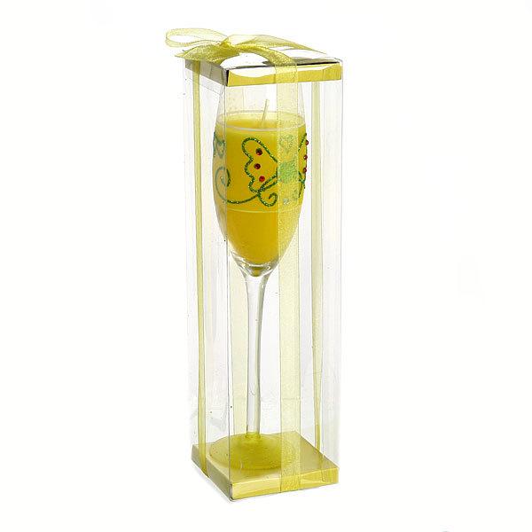 Свеча гелевая ″Сердечная″ 25 см желтая 9625 B купить оптом и в розницу
