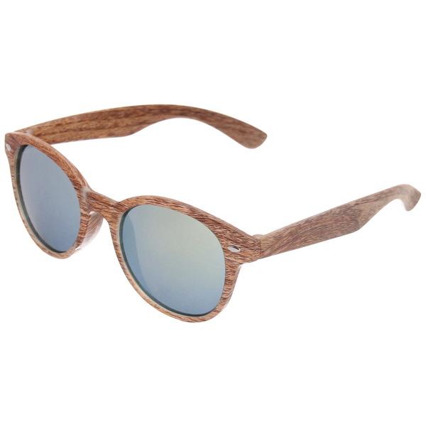 Очки солнцезащитные зеркальные ″Стиль-2017″, цвет оправы коричневое дерево купить оптом и в розницу
