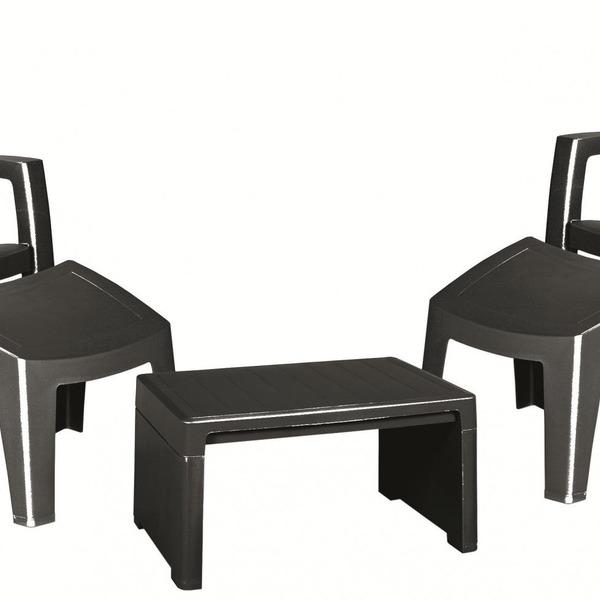 Набор мебели Lago lounge (Стул + подножка ) Curver антрацит купить оптом и в розницу