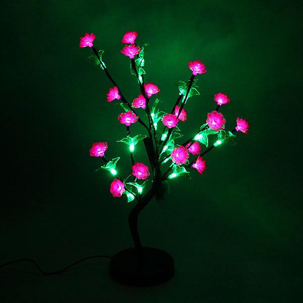 Световое дерево LED 55см, ″Циния розовая″, RB( красный, зеленый) купить оптом и в розницу