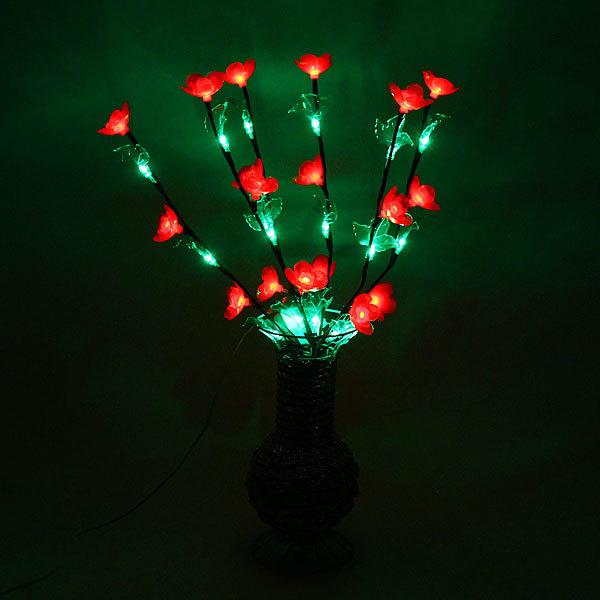 Световое дерево LED 60см, ″Цветы в вазе″ красные, RB( красный, зеленый) купить оптом и в розницу
