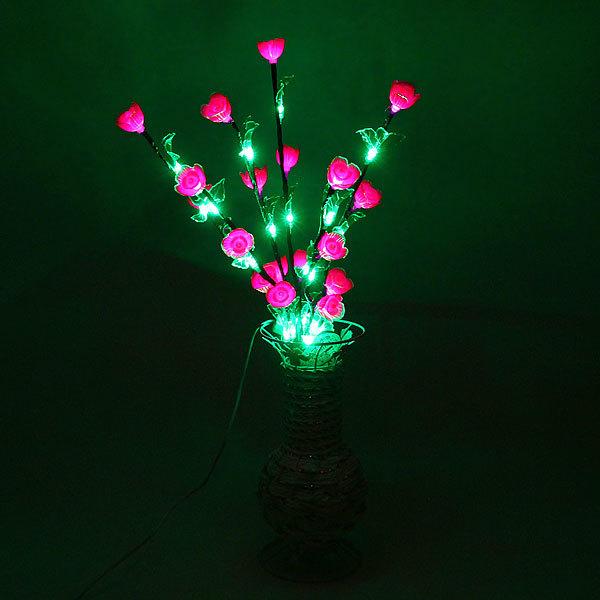 Световое дерево LED 60см, ″Цветы в вазе″ сиреневые, RB( красный, зеленый) купить оптом и в розницу