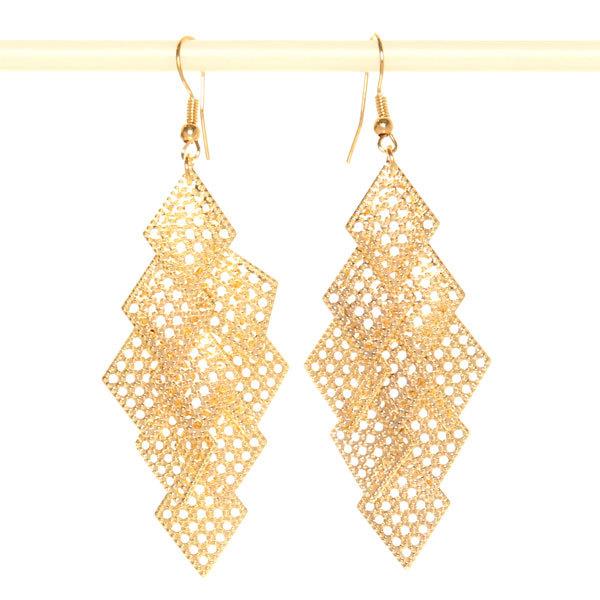 Серьги ″Золотая коллекция″ ромбики плетеные, цвет серебро и золото 8см купить оптом и в розницу