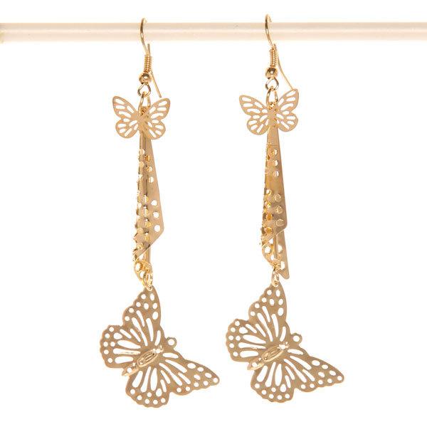 Серьги ″Золотая коллекция″ бабочки, цвет серебро и золото 9,5см купить оптом и в розницу