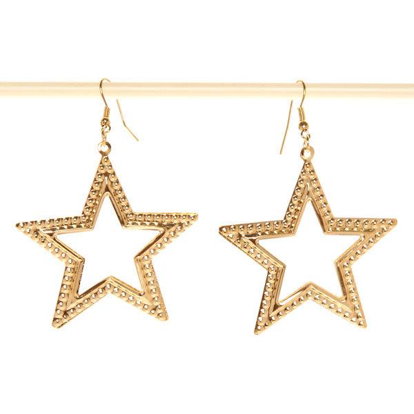 Серьги ″Золотая коллекция″ звезды, цвет серебро и золото 7,5см купить оптом и в розницу