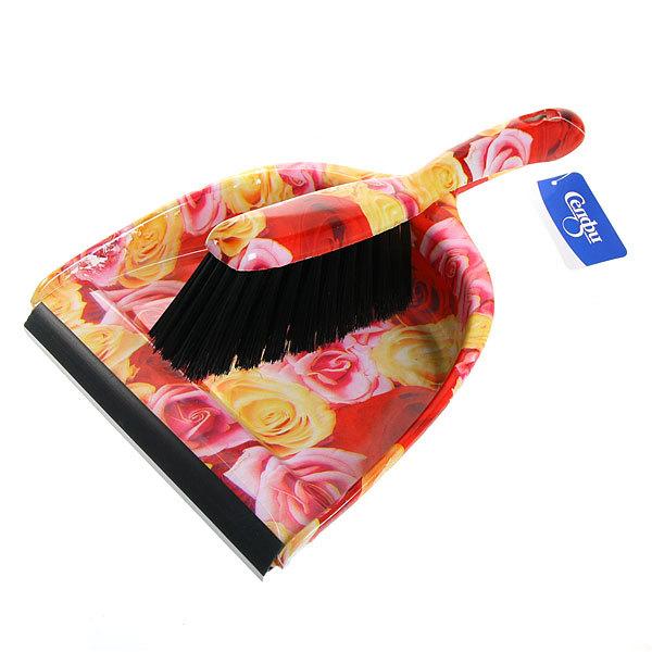 Набор для уборки, щетка-сметка и совок для мусора 33см 272-7 Розы купить оптом и в розницу